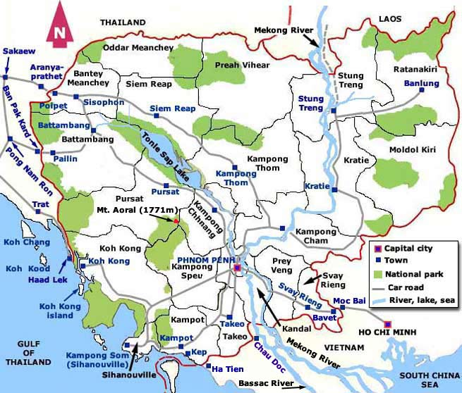 Country map of Cambodia overland entry exist points