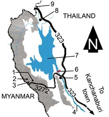 Thong Pha Phum national park map Kanchanaburi province Thailand