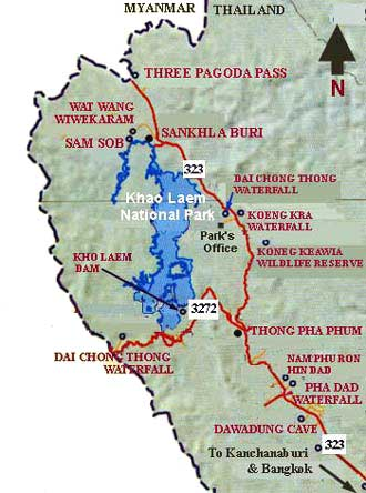 Khao Laem national park map Kanchanaburi province Thailand