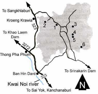Lam Klong Ngu national park map Kanchanaburi province Thailand