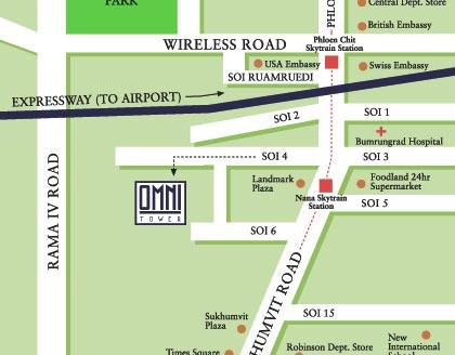 Omni Tower Serviced Residences Sukhumvit Soi Bangkok - Us embassy bangkok map