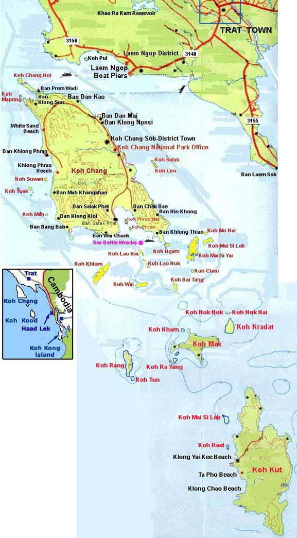 Koh Chang islands map Thailand