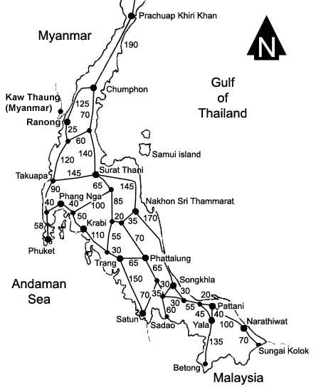 Map Of Southern Thailand Andaman Sea Gulf Of Thailand