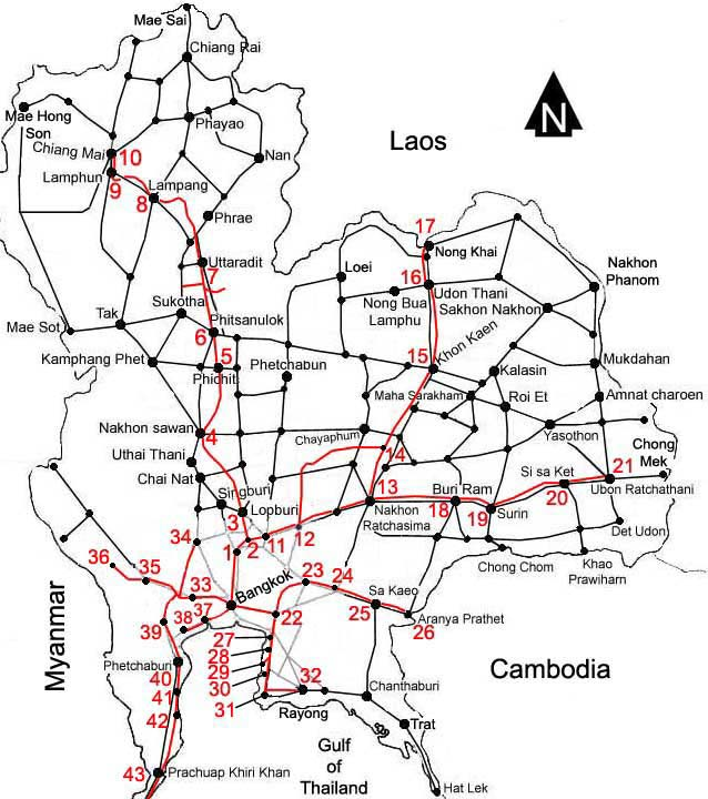 Lampang Thailand Map.Thailand Train Railway Map North North East And Central