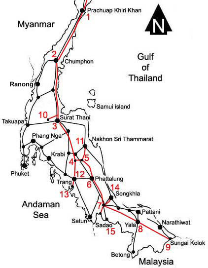 Worksheet. Train railway route road map  southern Thailand