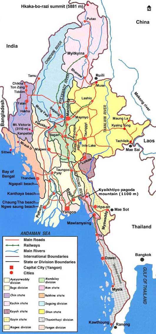 Country Map Of Myanmar Burma - Burma map