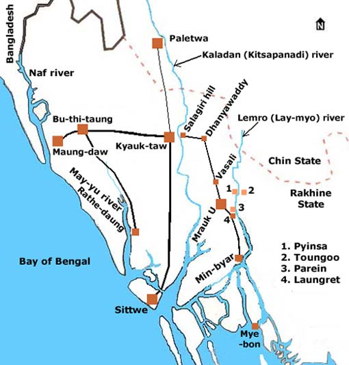 Map of northern Rakhine