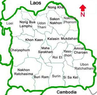 Thailand provinces in the northeast Nong Khai Udon Thani Loei