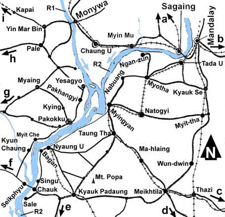 Map to Pakhangyi monastery Yesagyo township Myanmar